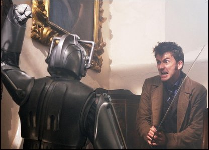 The Doctor fending off a cyberman (Photo: BBC/PA Wire)