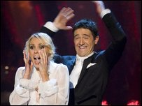 Tom Chambers celebrating winning the Strictly Come Dancing 2008 final with his dance partner Camilla Dallerup