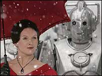 Actress Dervla Kirwan with a Cyberman