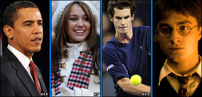 Barack Obama, Miley Cyrus, Andy Murray and Daniel Radcliffe