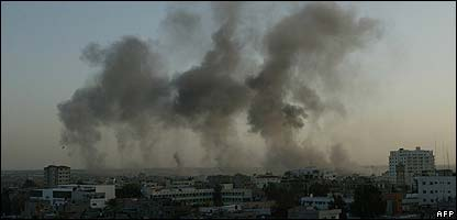 Smoke over the Gaza Strip