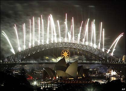 Shortly afterwards a spectacular fireworks show from Sydney Harbour Bridge marked the start of the new year in Australia.
