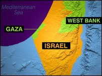 A map showing Israel and Gaza