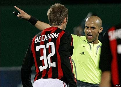 David Beckham playing for AC Milan