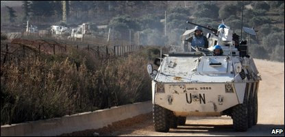 United Nations peacekeepers  patrol the Lebanese/Israeli border