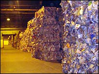 Recycled paper inside a warehouse