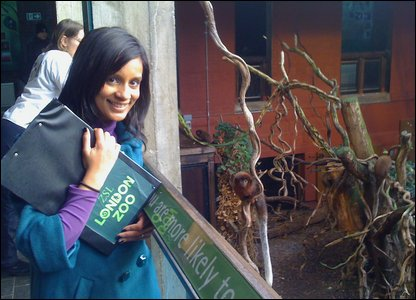 Sonali watching the monkeys