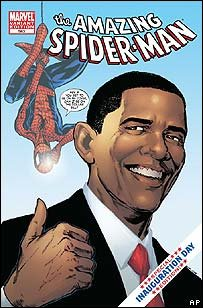 Barack Obama on the cover of a Spider-Man comic