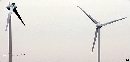 A damaged wind turbine in Lincolnshire