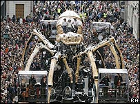 A mechanical spider in Liverpool