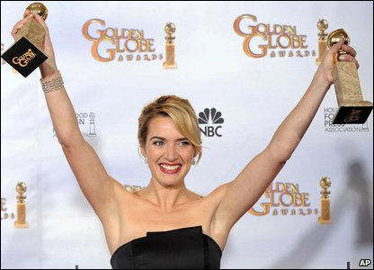 Kate Winslet with her Golden Globe awards