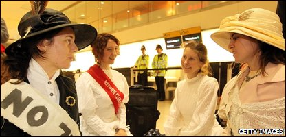 Protestors take part in picnic dressed as Suffragettes at Heathrow Airport (Photo by Peter Macdiarmid/Getty Images)