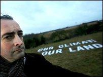 Alistair McGowan, on the proposed land for a third runway at Heathrow (Photo by Jiri Rezac/Greenpeace/PA Wire)