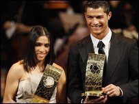 Cristiano Ronaldo and Marta with their footie awards