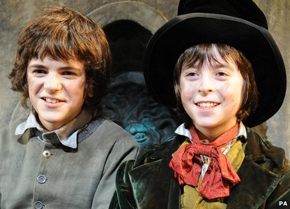 Harry Stott as Oliver (left) and Robert Madge as Dodger