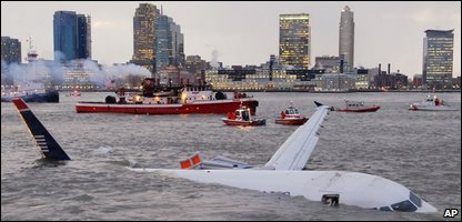 The US Airways plane in the Hudson River