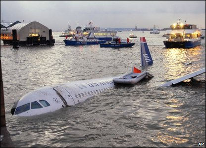 The plane in the Hudson River