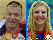 Olympic gold medallists Chris Hoy and Rebecca Adlington