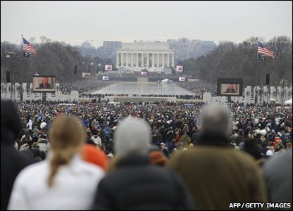 The enormous crowds at the We Are One concert at the Lincoln Memorial (EMMANUEL DUNAND/AFP/Getty Images)