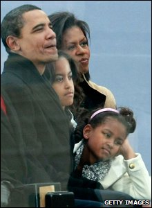 Barack Obama watching the concert with his wife Michelle and daughters Malia and Sasha  (Mark Wilson/Getty Images)