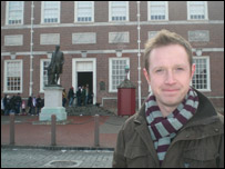 Adam outside Independence Hall