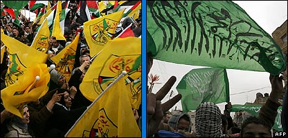 The flags of the Fatah and Hamas groups