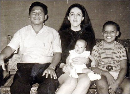 Barack Obama, his half-sister, stepdad and mum