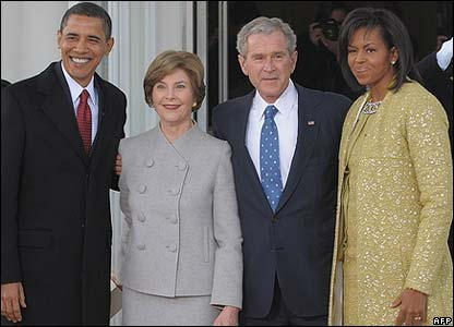 Barack Obama, Laura Bush, President George W Bush and Michelle Obama