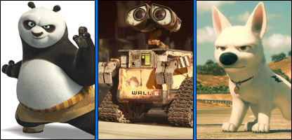 Stills from Kung Fu Pande, WALL-E and Bolt