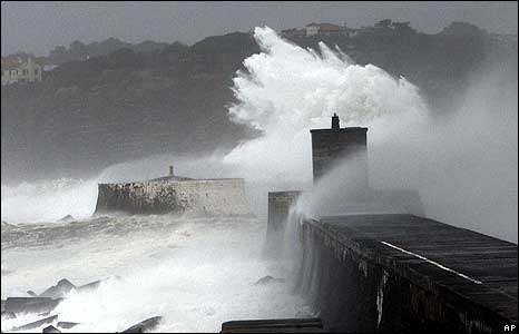 A huge wave hits a pier near Saint-Jean-de-Luz, south-western France