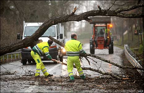 Public roads workers clear the road in the French city of Blagnac