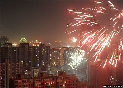 A massive firework display in Beijing welcomed in the new year.