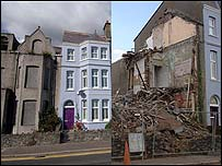 The house before and after demolition