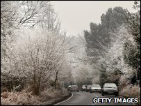 Frost covers roadside trees (Photo by Peter Macdiarmid/Getty Images)