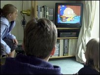 Children watching television