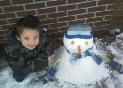 Samuel and his snowman