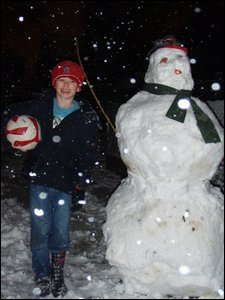 Ben with his snowman in Mansfield