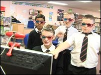 Kids try out the webcam