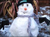 Emma's snowman in Somerset