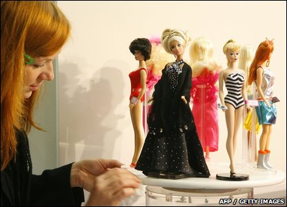 Barbie dolls on display