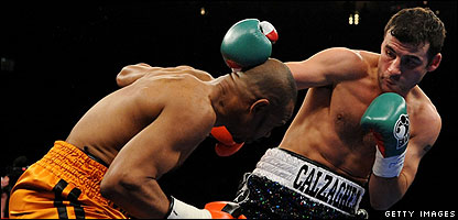 Joe Calzaghe in action against Roy Jones Jnr