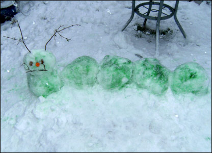 Kitty and Meg's green snow caterpillar
