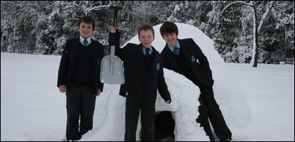 Ollie, Toby and Tom with their igloo