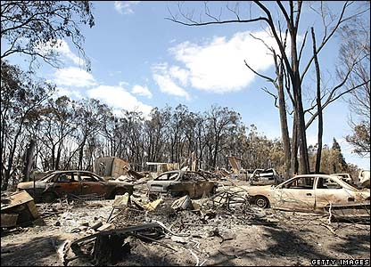 Burnt out cars in Australia