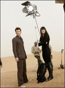 Michelle Ryan and David Tennant on set