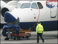Damaged British Airways plane is examined at City Airport in London (Photo by Lewis Whyld/PA Wire)
