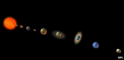 Computer artwork of the Sun (left) and the eight planets of the solar system (Photo by FRIEDRICH SAURER / SCIENCE PHOTO LIBRARY )