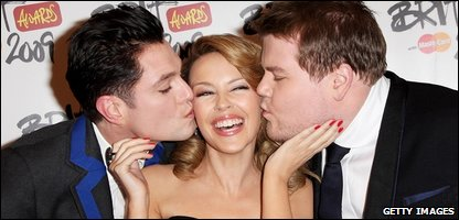 Kylie Minogue presented the 2009 Brit awards with James Corden and Mathew Horne