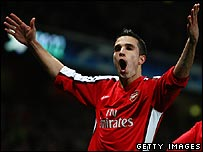Robin van Persie celebrates his goal