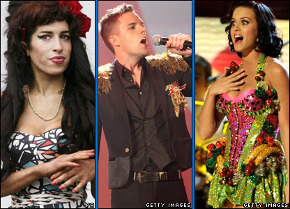 Amy Winehouse, Killers frontman Brandon Flowers, Katy Perry
